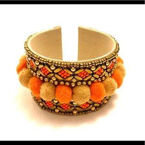 Orange Gold Pom Pom Bracelet boho